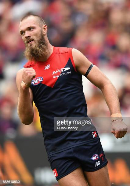 Max Gawn of the Demons celebrates kicking a goal during the round two AFL match between the Melbourne Demons and the Carlton Blues at Melbourne...