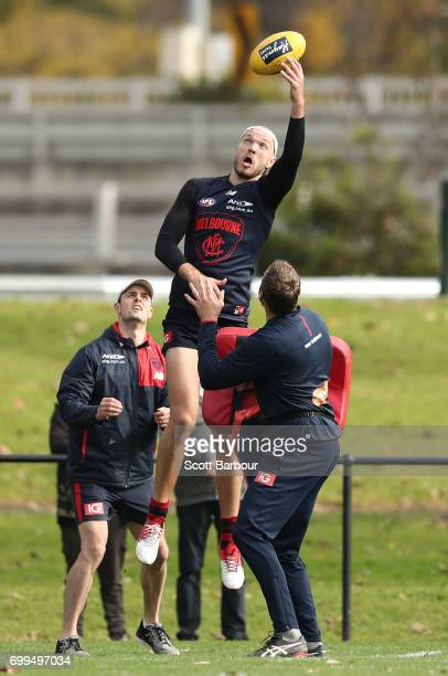 Max Gawn of the Demons competes for the ball during a Melbourne Demons AFL training session at Gosch's Paddock on June 22 2017 in Melbourne Australia
