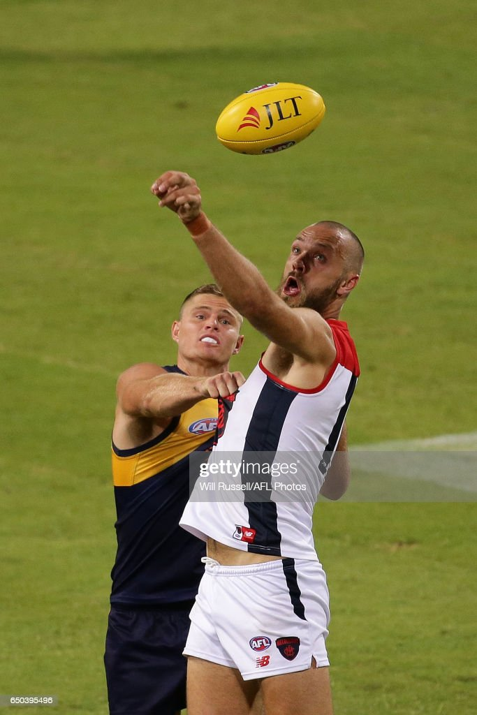 Max Gawn of the Demons contests a ruck with Nathan Vardy of the Eagles during the JLT Community Series AFL match between the West Coast Eagles and the Melbourne Demons at Domain Stadium on March 9, 2017 in Perth, Australia.