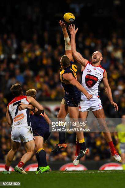 Max Gawn of the Demons contests a ruck with Nathan Vardy of the Eagles during the 2017 AFL round 14 match between the West Coast Eagles and the...