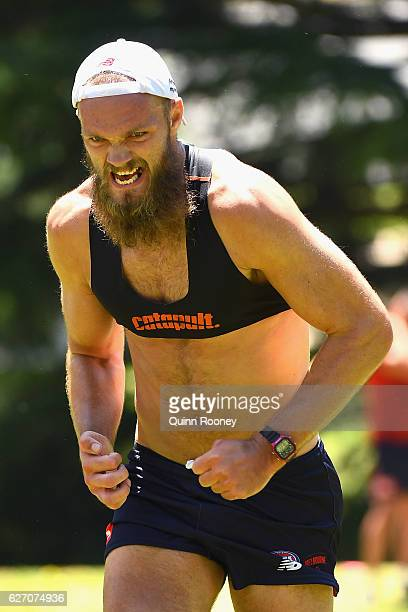 Max Gawn of the Demons does hill sprints at King's Domain during the Melbourne Demons AFL preseason training session at Gosch's Paddock on December 2...