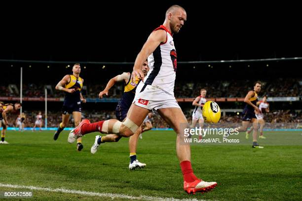 Max Gawn of the Demons kicks the ball during the round 14 AFL match between the West Coast Eagles and the Melbourne Demons at Domain Stadium on June...