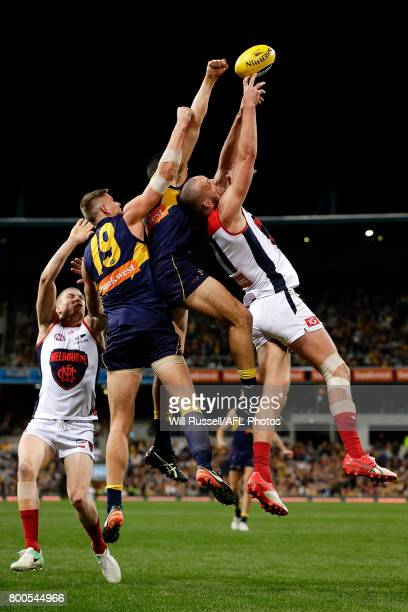 Max Gawn of the Demons leaps for the markduring the round 14 AFL match between the West Coast Eagles and the Melbourne Demons at Domain Stadium on...