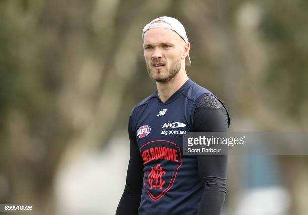 Max Gawn of the Demons looks on during a Melbourne Demons AFL training session at Gosch's Paddock on June 22 2017 in Melbourne Australia
