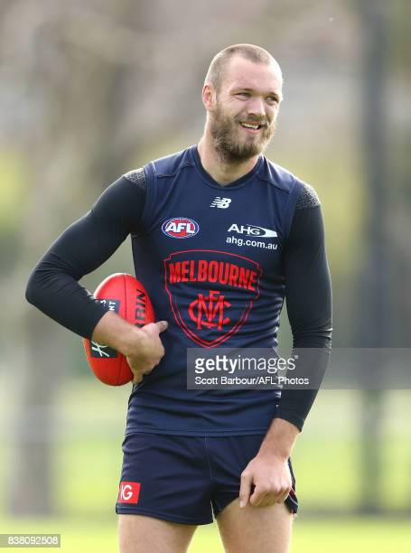 Max Gawn of the Demons looks on during a Melbourne Demons AFL training session at Gosch's Paddock on August 24 2017 in Melbourne Australia