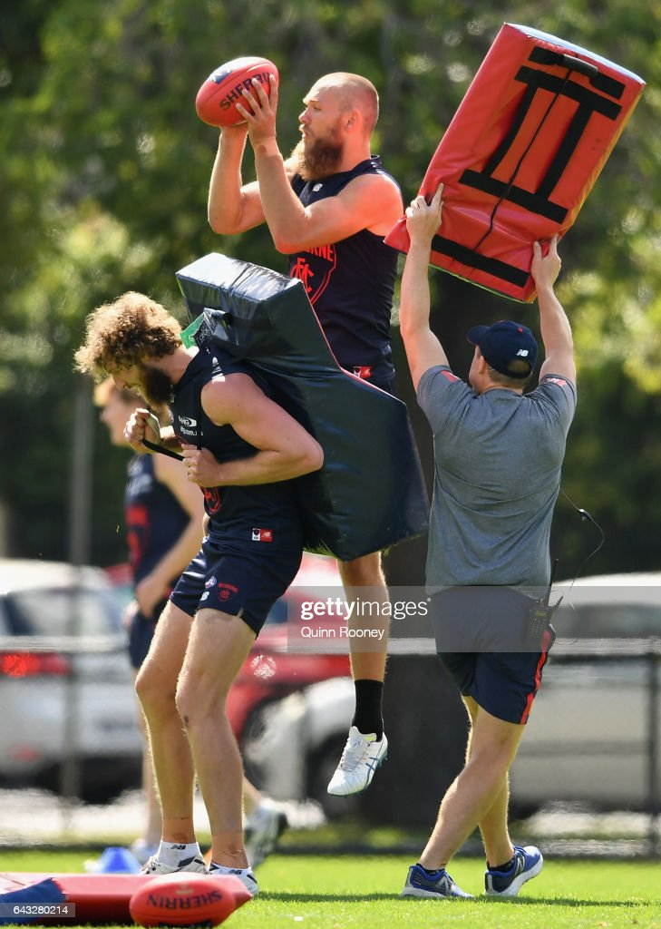 Max Gawn of the Demons marks during a Melbourne Demons AFL training session at Gosch's Paddock on February 21, 2017 in Melbourne, Australia.