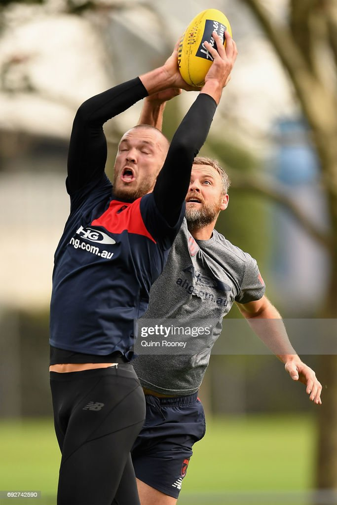 Max Gawn of the Demons marks during a Melbourne Demons AFL training session at Gosch's Paddock on June 6, 2017 in Melbourne, Australia.