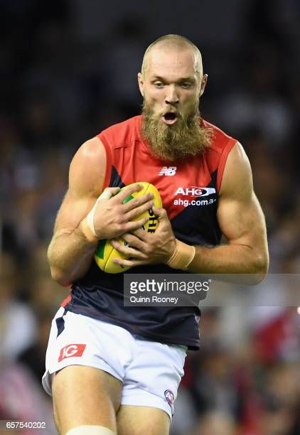 Max Gawn of the Demons marks during the round one AFL match between the St Kilda Saints and the Melbourne Demons at Etihad Stadium on March 25 2017...