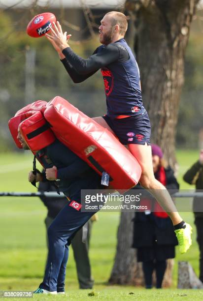 Max Gawn of the Demons marks the ball during a Melbourne Demons AFL training session at Gosch's Paddock on August 24 2017 in Melbourne Australia
