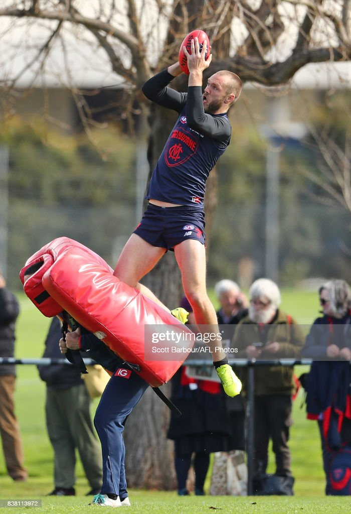 Max Gawn of the Demons marks the ball during a Melbourne Demons AFL training session at Gosch's Paddock on August 24, 2017 in Melbourne, Australia.