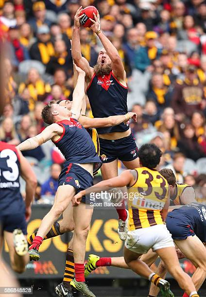 Max Gawn of the Demons marks the ball during the round 20 AFL match between the Melbourne Demons and the Hawthorn Hawks at Melbourne Cricket Ground...