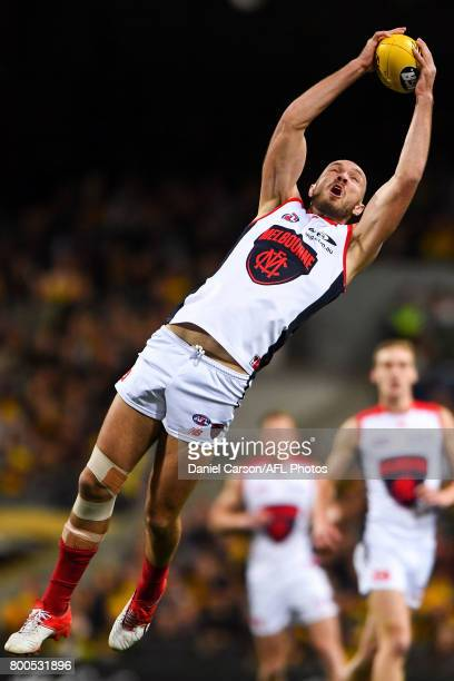Max Gawn of the Demons takes a mark during the 2017 AFL round 14 match between the West Coast Eagles and the Melbourne Demons at Domain Stadium on...
