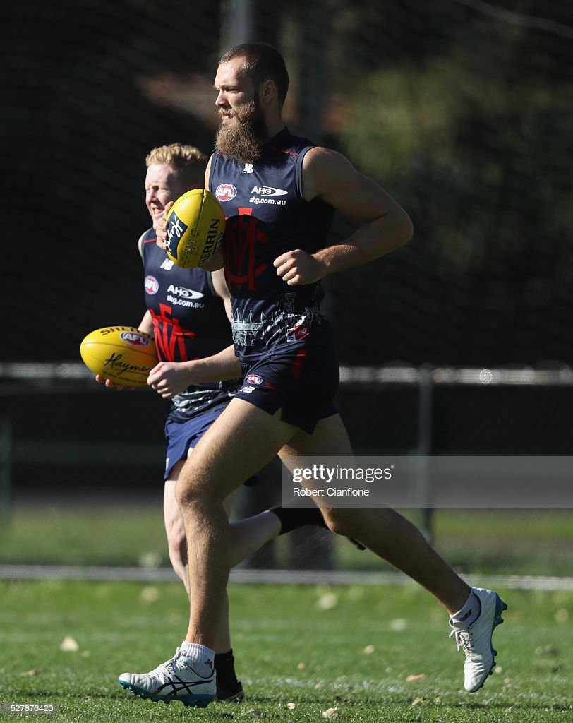 Max Gawn of the Demons warms up during a Melbourne Demons AFL training session at Goschs Paddock on May 4, 2016 in Melbourne, Australia.