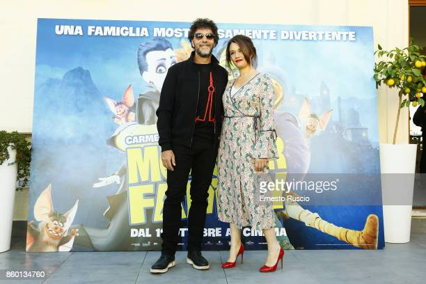 Max Gazze and Carmen Consoli attend Monster Family photocall at Aleph Hotel on October 11 2017 in Rome Italy