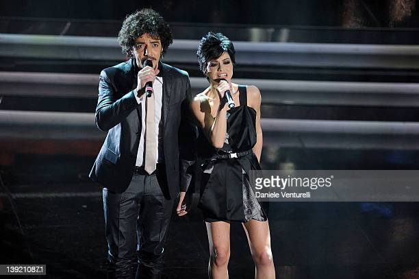 Max Gazze and Emanuela Trane known as Dolcenera performs on stage at the fourth day of the 62th Sanremo Song Festival at the Ariston Theatre on...