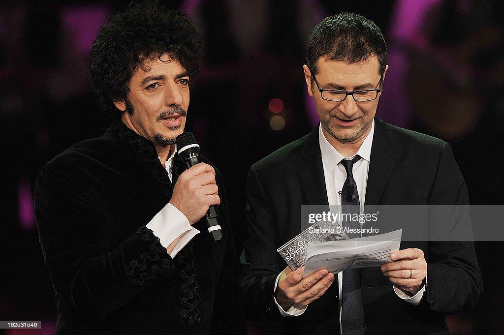 Max Gazze and Fabio Fazio attend 'Che Tempo Che Fa' Italian TV Show on February 24, 2013 in Milan, Italy.