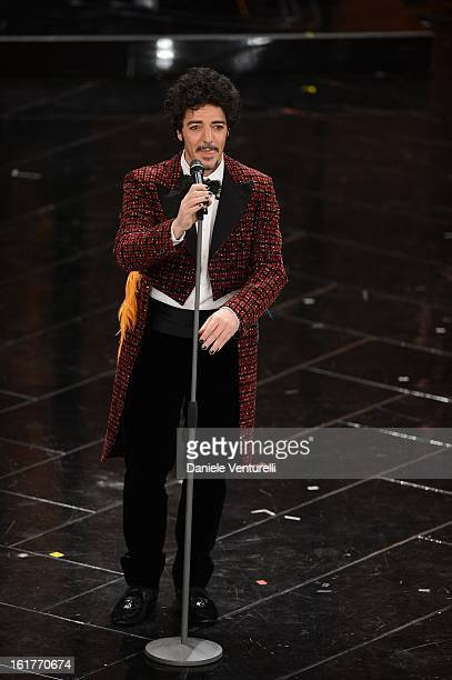 Max Gazze attend the fourth night of the 63rd Sanremo Song Festival at the Ariston Theatre on February 15 2013 in Sanremo Italy