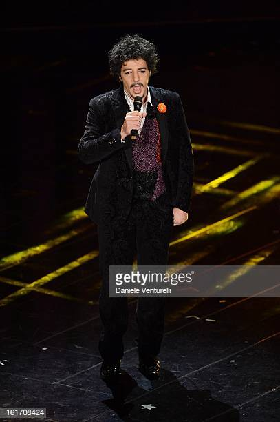 Max Gazze attend the third night of the 63rd Sanremo Song Festival at the Ariston Theatre on February 14 2013 in Sanremo Italy