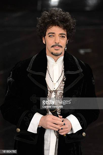 Max Gazze attends the closing night of the 63rd Sanremo Song Festival at the Ariston Theatre on February 16 2013 in Sanremo Italy