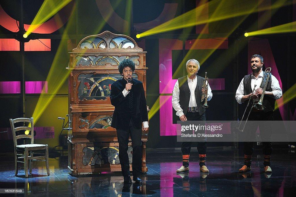 Max Gazze performs at 'Che Tempo Che Fa' Italian TV Show on February 24, 2013 in Milan, Italy.
