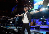 Max George Jay McGuiness and Nathan Sykes of The Wantedperforms onstage during Z100's Jingle Ball 2012 presented by Aeropostale at Madison Square...