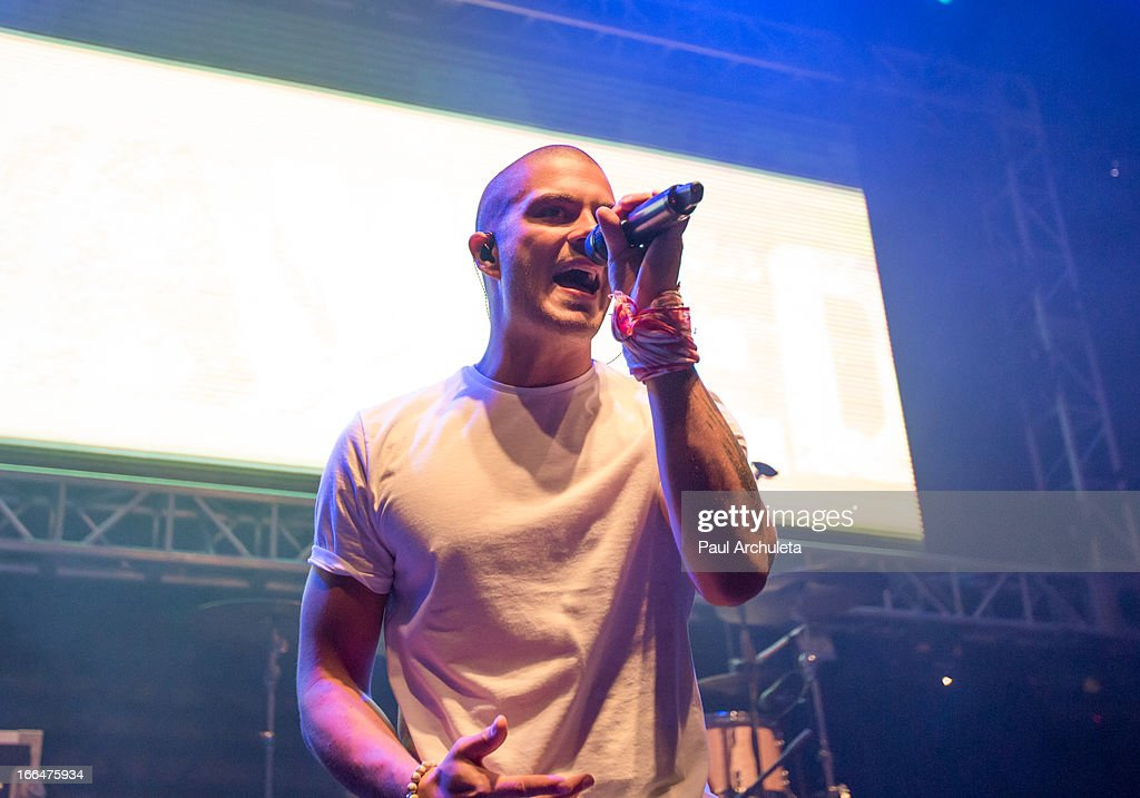 <a gi-track='captionPersonalityLinkClicked' href=/galleries/search?phrase=Max+George&family=editorial&specificpeople=7039808 ng-click='$event.stopPropagation()'>Max George</a> of the boy band The Wanted perform live at the 97.1 Amplify 2013 Concert at The Hollywood Palladium on April 12, 2013 in Los Angeles, California.