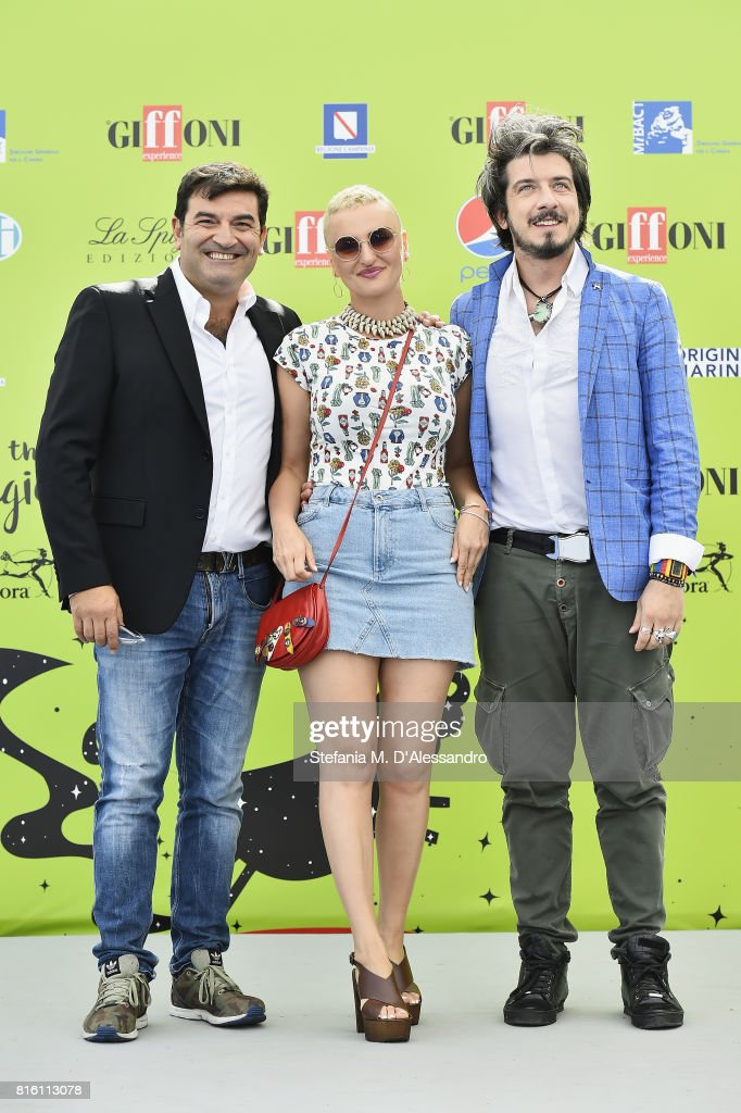 Max Giusti, Arisa, Paolo Ruffini attend Giffoni Film Festival 2017 Day 4 Photocall on July 17, 2017 in Giffoni Valle Piana, Italy.
