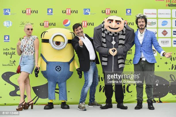 Max Giusti Arisa Paolo Ruffini attend Giffoni Film Festival 2017 Day 4 Photocall on July 17 2017 in Giffoni Valle Piana Italy