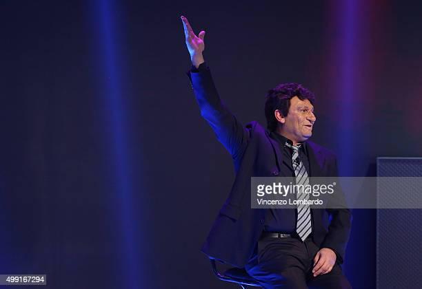 Max Giusti performs at Quelli Che Il Calcio Tv Show on November 29 2015 in Milan Italy