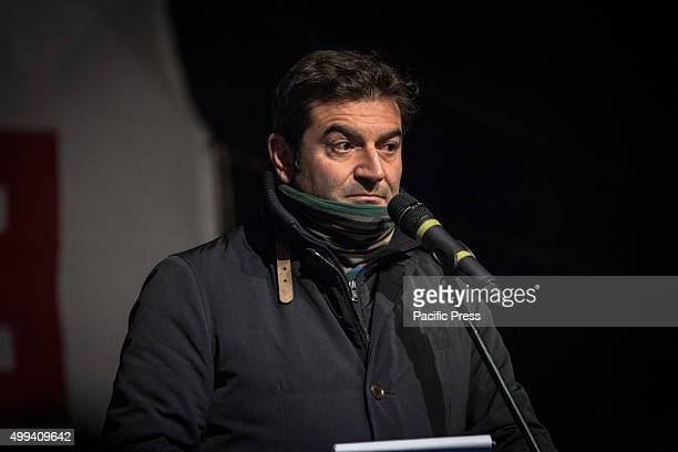 Max Giusti speaks during during the International Day of Cities for Life Cities against the Death at the ancient Colosseum