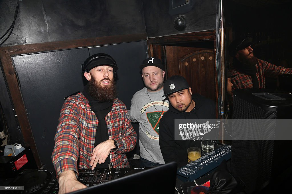 Max Glazer, Statik Selektah, and DJ Get Live attend GETLIVE! With Max Glazer And Statik Selektah at Lil Charlie's on February 26, 2013 in New York City.