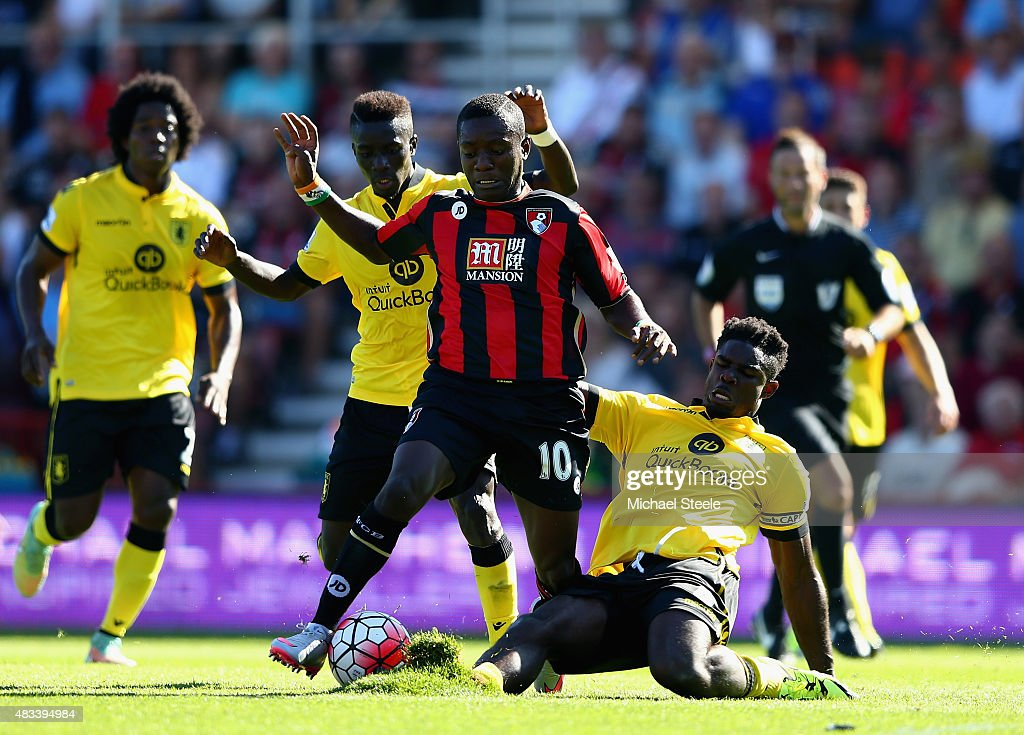 <a gi-track='captionPersonalityLinkClicked' href=/galleries/search?phrase=Max+Gradel&family=editorial&specificpeople=5488968 ng-click='$event.stopPropagation()'>Max Gradel</a> of Bournemouth and <a gi-track='captionPersonalityLinkClicked' href=/galleries/search?phrase=Micah+Richards+-+Soccer+Player&family=editorial&specificpeople=647038 ng-click='$event.stopPropagation()'>Micah Richards</a> of Aston Villa compete for the ball during the Barclays Premier League match between A.F.C. Bournemouth and Aston Villa at Vitality Stadium on August 8, 2015 in Bournemouth, England.