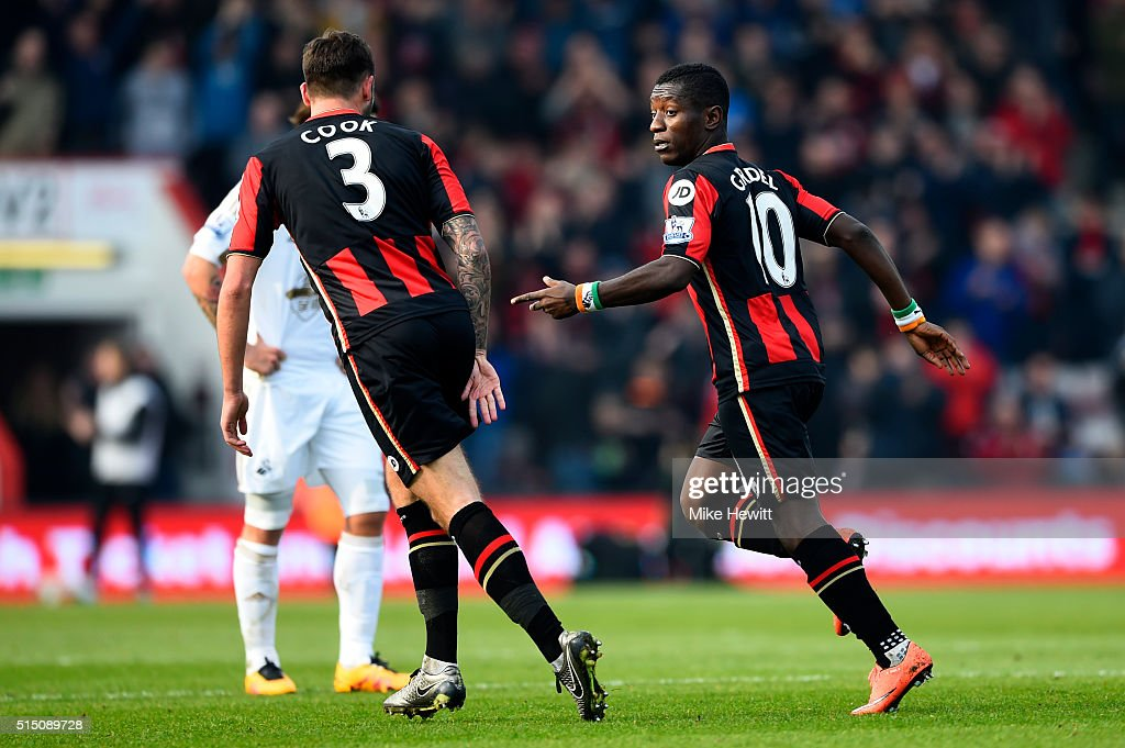 Max Gradel of Bournemouth celebrates scoring his team's first goal during the Barclays Premier League match between AFC Bournemouth and Swansea City...