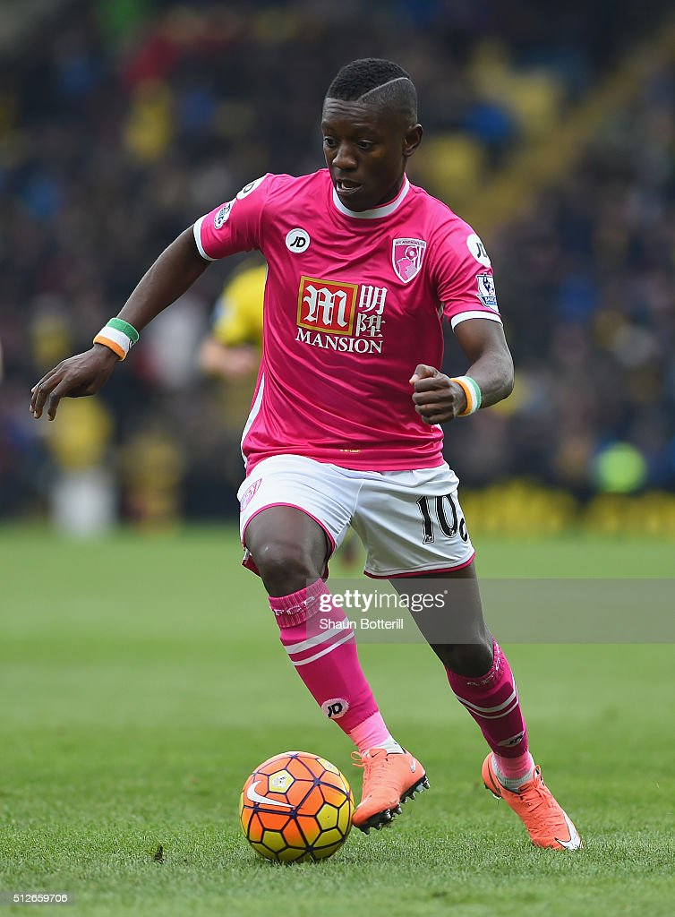 <a gi-track='captionPersonalityLinkClicked' href=/galleries/search?phrase=Max+Gradel&family=editorial&specificpeople=5488968 ng-click='$event.stopPropagation()'>Max Gradel</a> of Bournemouth during the Barclays Premier League match between Watford and A.F.C. Bournemouth at Vicarage Road on February 27, 2016 in Watford, England.