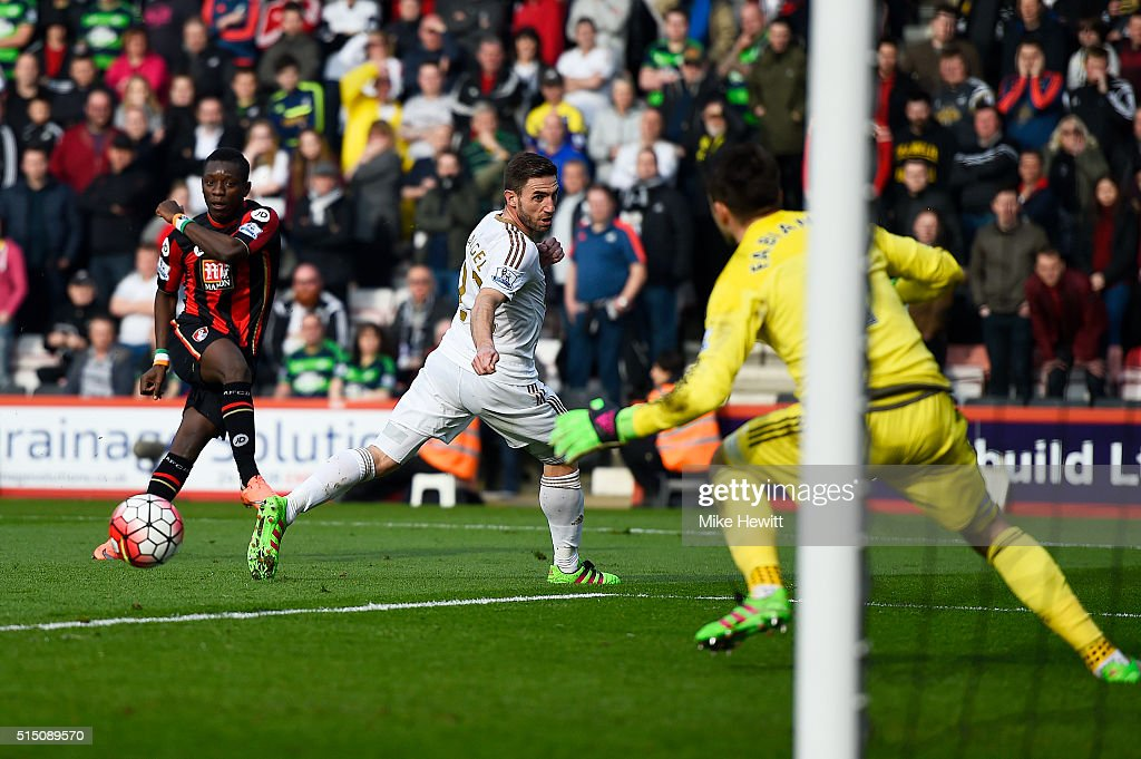 <a gi-track='captionPersonalityLinkClicked' href=/galleries/search?phrase=Max+Gradel&family=editorial&specificpeople=5488968 ng-click='$event.stopPropagation()'>Max Gradel</a> (1st L) of Bournemouth scores his team's first goal past <a gi-track='captionPersonalityLinkClicked' href=/galleries/search?phrase=Lukasz+Fabianski&family=editorial&specificpeople=560874 ng-click='$event.stopPropagation()'>Lukasz Fabianski</a> of Swansea City during the Barclays Premier League match between A.F.C. Bournemouth and Swansea City at Vitality Stadium on March 12, 2016 in Bournemouth, England.