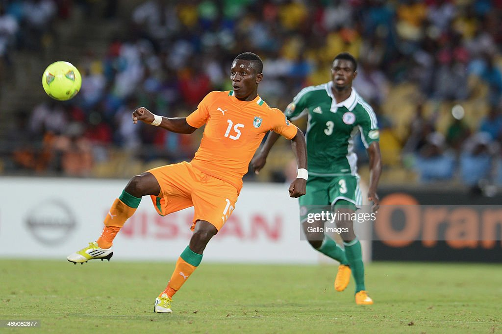 <a gi-track='captionPersonalityLinkClicked' href=/galleries/search?phrase=Max+Gradel&family=editorial&specificpeople=5488968 ng-click='$event.stopPropagation()'>Max Gradel</a> of Ivory Coast in action during the 2013 Orange African Cup of Nations 3rd Quarter Final match between Ivory Coast and Nigeria at Royal Bafokeng Stadium on February 03, 2013 in Rustenburg, South Africa.