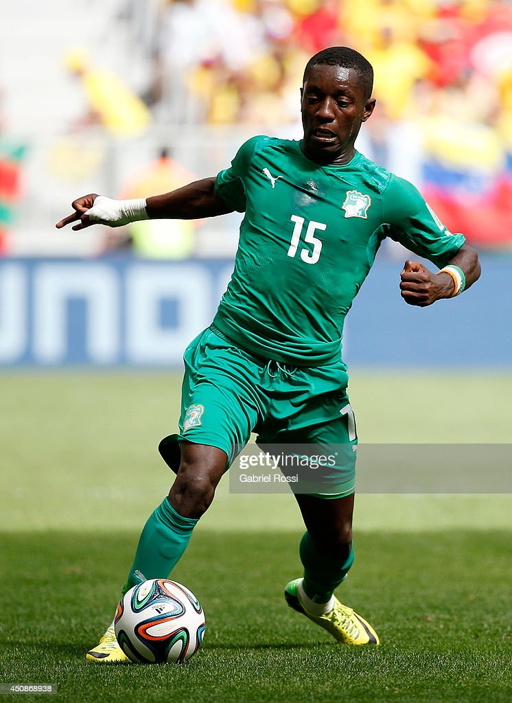<a gi-track='captionPersonalityLinkClicked' href=/galleries/search?phrase=Max+Gradel&family=editorial&specificpeople=5488968 ng-click='$event.stopPropagation()'>Max Gradel</a> of the Ivory Coast controls the ball during the 2014 FIFA World Cup Brazil Group C match between Colombia and Cote D'Ivoire at Estadio Nacional on June 19, 2014 in Brasilia, Brazil.