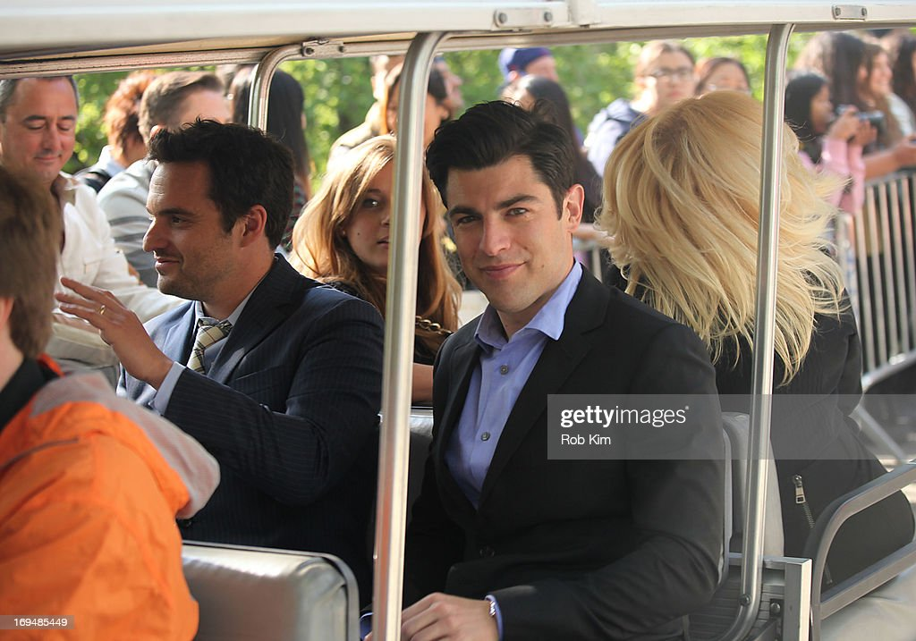 <a gi-track='captionPersonalityLinkClicked' href=/galleries/search?phrase=Max+Greenfield&family=editorial&specificpeople=599135 ng-click='$event.stopPropagation()'>Max Greenfield</a> (R) and Jake Johnson attends FOX 2103 Programming Presentation Post-Party at Wollman Rink - Central Park on May 13, 2013 in New York City.