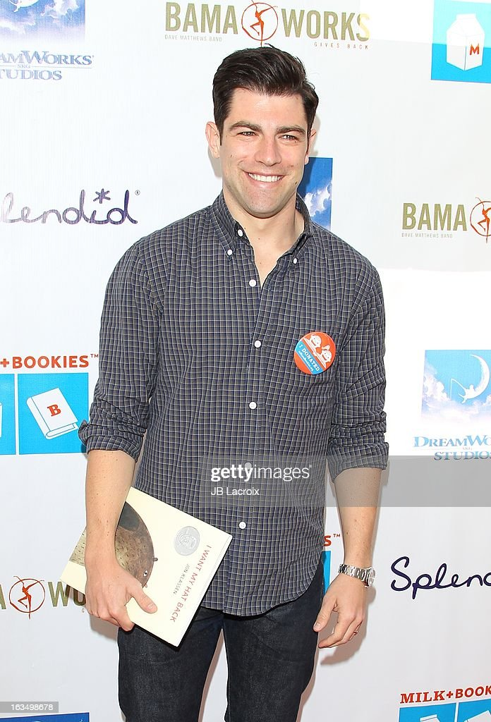 <a gi-track='captionPersonalityLinkClicked' href=/galleries/search?phrase=Max+Greenfield&family=editorial&specificpeople=599135 ng-click='$event.stopPropagation()'>Max Greenfield</a> attends the 4th Annual Milk + Bookies Story Time Celebration at Skirball Cultural Center on March 10, 2013 in Los Angeles, California.