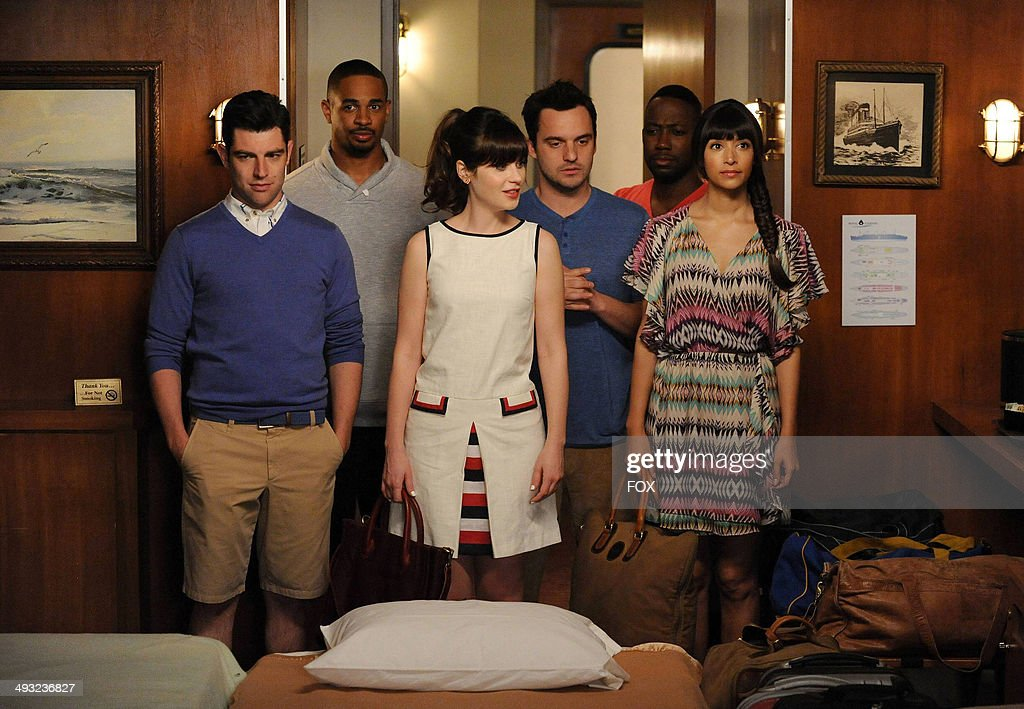 <a gi-track='captionPersonalityLinkClicked' href=/galleries/search?phrase=Max+Greenfield&family=editorial&specificpeople=599135 ng-click='$event.stopPropagation()'>Max Greenfield</a>, Damon Wayans, Jr., <a gi-track='captionPersonalityLinkClicked' href=/galleries/search?phrase=Zooey+Deschanel&family=editorial&specificpeople=202927 ng-click='$event.stopPropagation()'>Zooey Deschanel</a>, <a gi-track='captionPersonalityLinkClicked' href=/galleries/search?phrase=Jake+Johnson+-+Actor&family=editorial&specificpeople=11543114 ng-click='$event.stopPropagation()'>Jake Johnson</a>, <a gi-track='captionPersonalityLinkClicked' href=/galleries/search?phrase=Lamorne+Morris&family=editorial&specificpeople=671004 ng-click='$event.stopPropagation()'>Lamorne Morris</a> and <a gi-track='captionPersonalityLinkClicked' href=/galleries/search?phrase=Hannah+Simone&family=editorial&specificpeople=3291351 ng-click='$event.stopPropagation()'>Hannah Simone</a> in the 'Cruise' Season finale episode of NEW GIRL airing Tuesday, May 6, 2014 (9:00-9:30 PM ET/PT) on FOX.