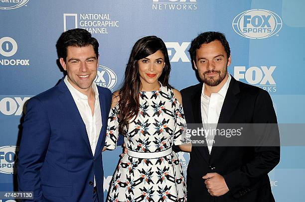 Max Greenfield Hannah Simone and Jake Johnson attend 2015 FOX Programming Presentation at Wollman Rink Central Park on May 11 2015 in New York City