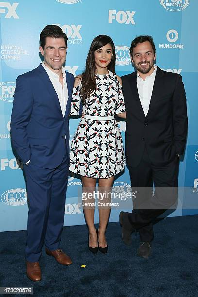 Max Greenfield Hannah Simone and Jake Johnson attend the 2015 FOX programming presentation at Wollman Rink in Central Park on May 11 2015 in New York...
