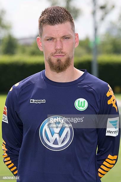 Max Gruen poses during the team presentation of VfL Wolfsburg at Volkswagen Arena on July 16 2015 in Wolfsburg Germany