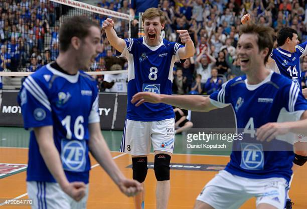 Max Guenthoer of Friedrichshafen celebrates during the Volleyball Bundesliga match between VfB Friedrichshafen and Berlin Recycling Volleys at ZF...