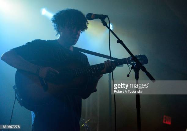 Max Harwood of Lewis Del Mar performs onstage at the Paradigm / SoundExchange music showcase during 2017 SXSW Conference and Festivals at Stubbs on...