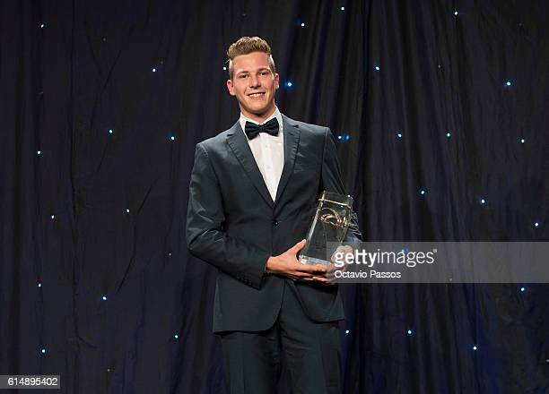 Max Hess from Germany poses for picture with his Golden Tracks Menâs Rising Star 2016 trophy during the European Athletics Golden Tracks Awards on...
