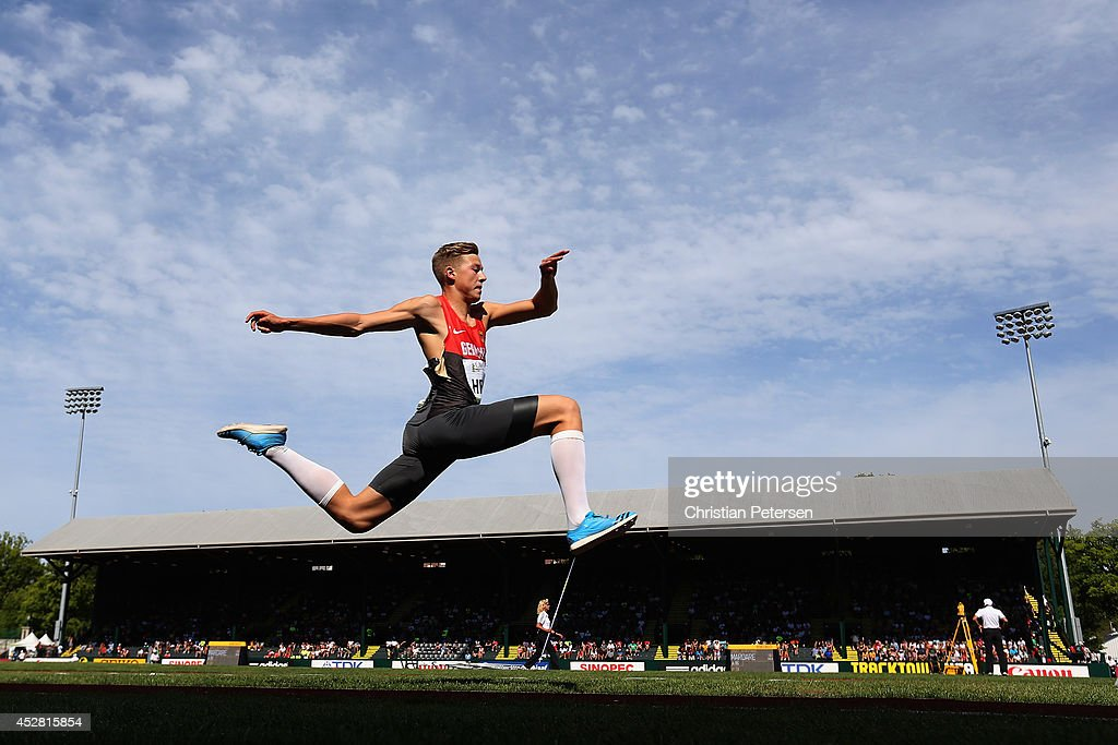 Max Hess of Germany competes in the men's triple jump final during day six of the IAAF World Junior Championships at Hayward Field on July 27 2014 in...