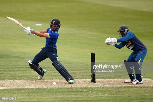 Max Holden of England bats during the Royal London OneDay Series match between England U19 v Sri Lanka U19 at Wormsley Cricket Ground on August 10...
