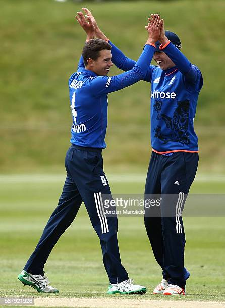 Max Holden of England celebrates getting the wicket of Wanidu Hasaranga of Sri Lanka during the Royal London OneDay Series match between England U19...
