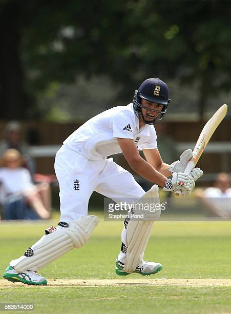 Max Holden of England hits out during the match between England U19's and Sri Lanka U19's at the University Cricket Ground on July 26 2016 in...